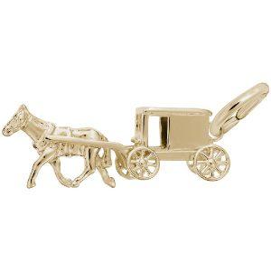 gold amish wagon charm