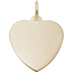 gold heart engravable charm disc