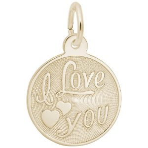 gold i love you disc charm