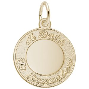 special date engravable disc charm gold