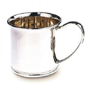 sterling silver engravable baby cup beaded edge