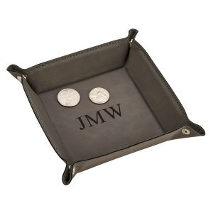 grey leatherette valet tray engravable