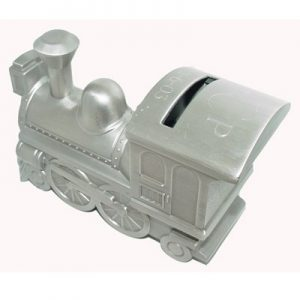 pewter finish engraved train bank