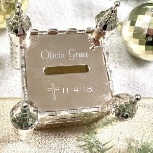 engravable pewter castle bank baby gift