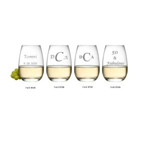 engravable stemless wine fonts